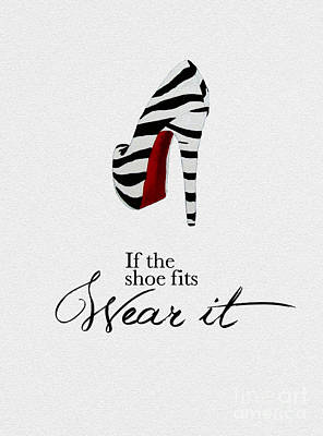 Fit Mixed Media - If The Shoe Fits Zebra by Rebecca Jenkins