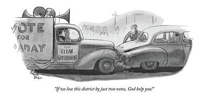 Two By Two Drawing - If We Lose This District By Just Two Votes by Richard Decker