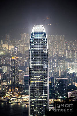 Ifc Tower And City Of Hong Kong At Night Print by Matteo Colombo