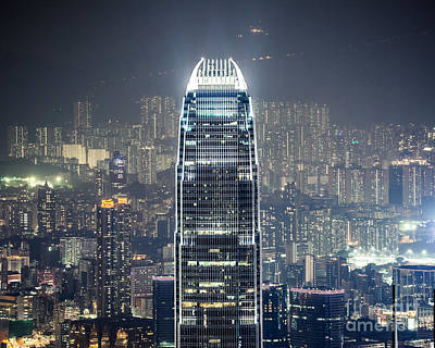 Ifc Tower And Skyline Of Hong Kong At Night Art Print by Matteo Colombo