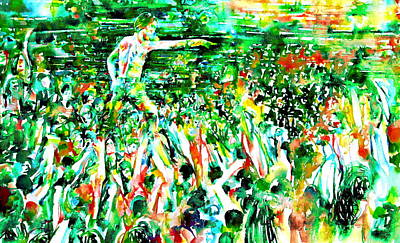 Concert Images Painting - Iggy Pop Stadium Live Concert - Watercolor Painting by Fabrizio Cassetta