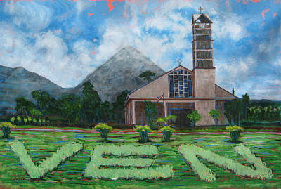 Painting - Iglesia La Fortuna  Costa Rica by Jeff Seaberg