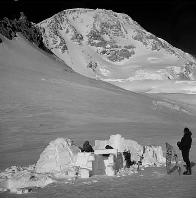 Photograph - T-501313-bw-igloo Camp At 13500 Ft On Mt. Mckinley, Ak by Ed  Cooper Photography