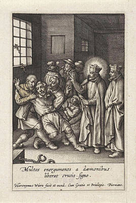 Miraculous Drawing - Ignatius Loyola Performs A Devilish Spell by Hieronymus Wierix