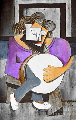 Tin Whistle Painting - Ignatus With His Bodhran by Val Byrne