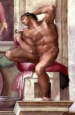 Painting - Ignudo Number Eight Of 1511 by Michelangelo Buonarroti