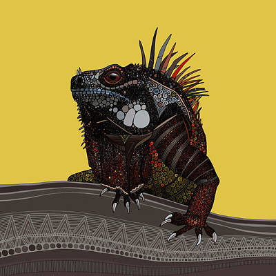 Iguana Drawing - Iguana Gold by Sharon Turner