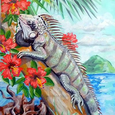 Iguana Painting - Iguana Hibiscis by David Francke