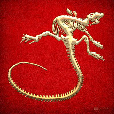 Digital Art - Iguana Skeleton In Gold On Red  by Serge Averbukh