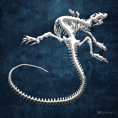Digital Art - Iguana Skeleton In Silver On Blue  by Serge Averbukh
