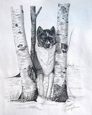 Dog In Landscape Drawing - Ihasa In The Woods by Joette Snyder