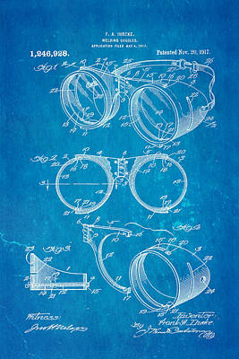 Welding Photograph - Ihrcke Welding Goggles Patent Art 1917 Blueprint by Ian Monk