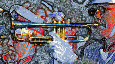 Trumpet Painting - The Trumpet Player by David Lee Thompson