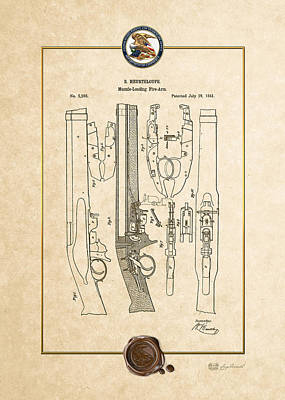 Muzzle Digital Art - IImprovement To Muzzle-loading Fire-arm - Vintage Patent Document by Serge Averbukh