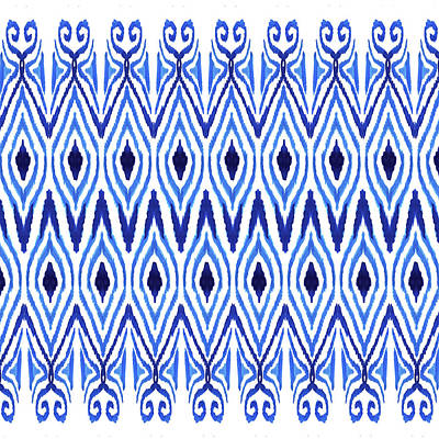 Tribal Art Painting - Ikat Blue by Amy Sia