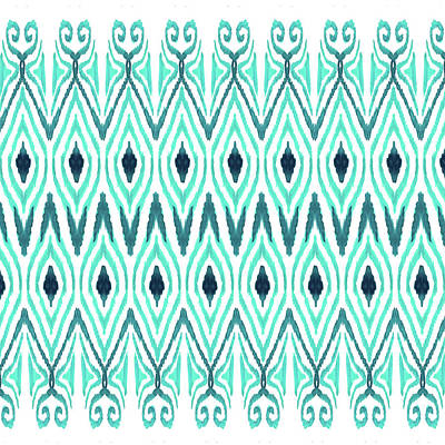 Tribal Art Painting - Ikat Jade by Amy Sia