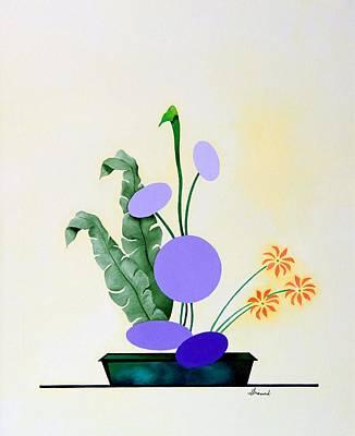 Ikebana #2 Green Pot Art Print