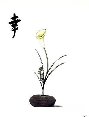 Ikebana Calla Lilies And Flowers Original by Gordon Lavender