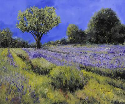 Violet Painting - Il Campo Di Lavanda by Guido Borelli
