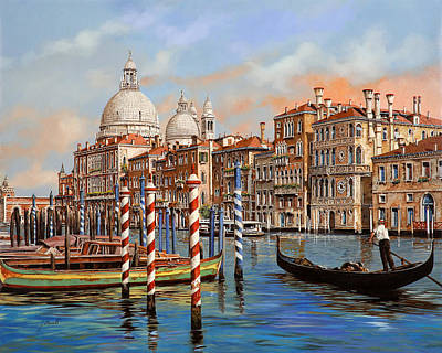 Lamps Painting - Il Canal Grande by Guido Borelli