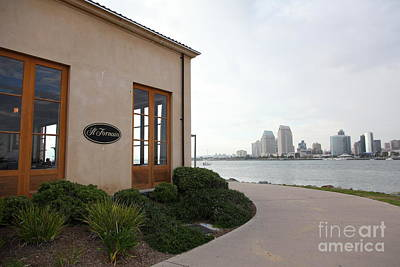 Coronado Bay Photograph - Il Fornaio Italian Restaurant In Coronado California Overlooking The San Diego Skyline 5d24364 by Wingsdomain Art and Photography