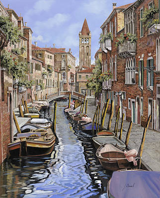 Venice Wall Art - Painting - il gatto nero a Venezia by Guido Borelli