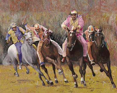 Horse Race Painting - il palio dell'Assunta by Guido Borelli