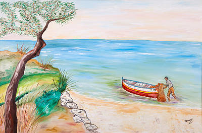 Water Painting - Il Pescatore Solitario by Loredana Messina