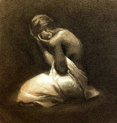 Crying Drawing - Il Suo Dolore by Alison Schmidt Carson