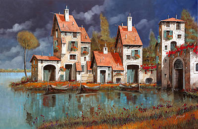 Morning Painting - Il Villaggio Sul Lago by Guido Borelli