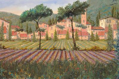 Il Villaggio Tra I Campi Di Lavanda Art Print by Guido Borelli