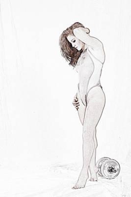 Photograph - Ileana Photo Line Drawing by Dan Friend