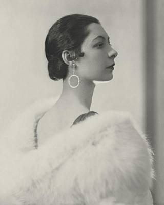 Earrings Photograph - Ilka Chase Wearing Diamond Earrings by Edward Steichen