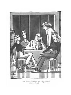 Drawing - I'll Be Rather Late Tonight by Peter Arno
