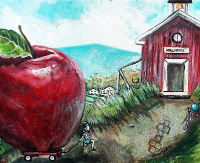 Little Red Wagon Painting - Ill Be The Teachers Pet For Sure by Shana Rowe Jackson