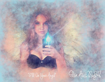 Aset Digital Art - I'll Be Your Angel - With Title by Elsa Aset Rigoni