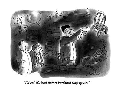 Chip Drawing - I'll Bet It's That Damn Pentium Chip Again by Arnie Levin