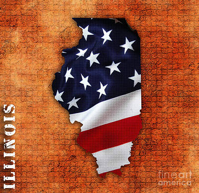 Flags Mixed Media - Illinois American Flag State Map by Marvin Blaine