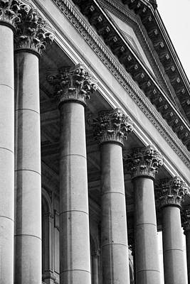 Capitol Building Wall Art - Photograph - Illinois Capitol Columns B W by Steve Gadomski