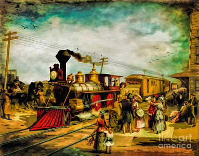 Lithography Digital Art - Illinois Central Railroad 1882 by Lianne Schneider