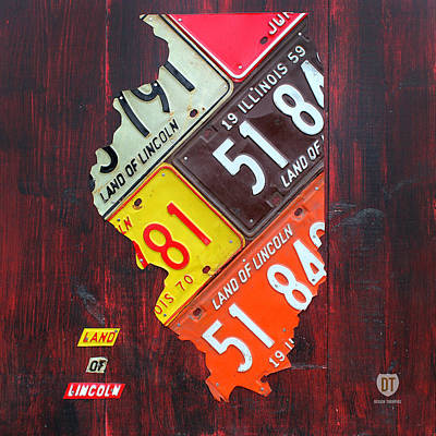 Midwest Mixed Media - Illinois License Plate Map by Design Turnpike