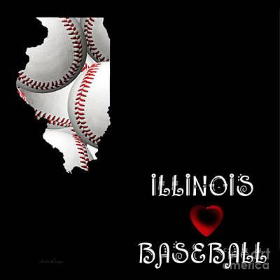 Digital Art - Illinois Loves Baseball by Andee Design