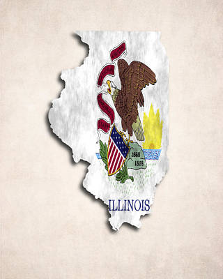 Chicago Flag Digital Art - Illinois Map Art With Flag Design by World Art Prints And Designs
