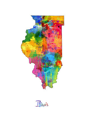 Illinois Map Print by Michael Tompsett