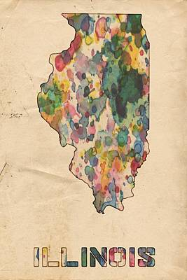 Painting - Illinois Map Vintage Watercolor by Florian Rodarte