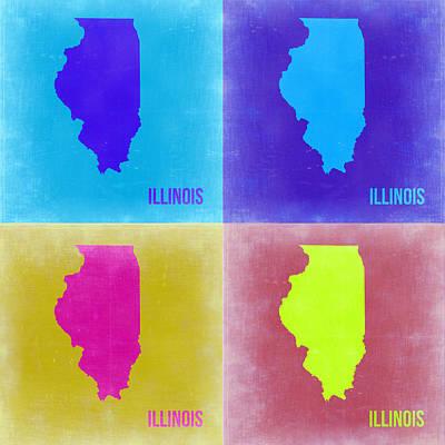 University Of Illinois Wall Art - Painting - Illinois Pop Art Map 2 by Naxart Studio