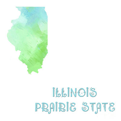 Digital Art - Illinois - Prairie State - Map - State Phrase - Geology by Andee Design