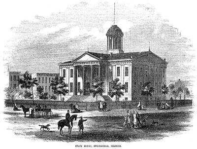 Painting - Illinois State House, 1856 by Granger