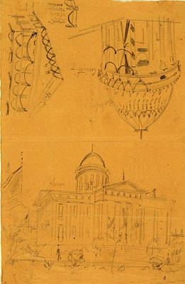 Bunting Drawing - Illinois Statehouse, Springfield, Ill, With Details Showing by Quint Lox