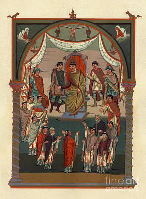 Manuscript Mixed Media - Illuminated 9th Century Manuscript Painting by Christos Georghiou